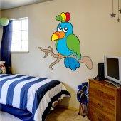 Adesivo Murale bambino uccello colorato