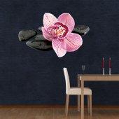 Adesivo Murale ciottoli orchidea