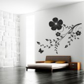 Adesivo Murale ramo farfalla