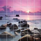 Adesivo per piastrelle mare tramonto