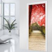 Adesivo per porte scala albero rosso