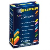 Box of 10 coloured chalk sticks