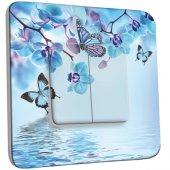 Interrupteur Décoré double va et vient Orchidée Papillon Bleu