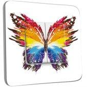 Interrupteur Décoré Double va et vient Papillon Multicoloré Design Papillon Multicoloré Design