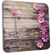 Interrupteur Décoré Simple Bois Fleurs