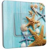Interrupteur Décoré Simple Coquillages Etoiles de mer