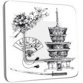 Interrupteur Décoré Simple Motif Chinois Black&White