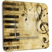 Interrupteur Décoré Simple Musique Old Style