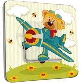 Interrupteur Décoré Simple Ourson dans l'Avion Enfant