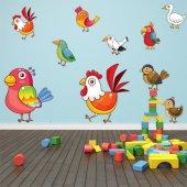 Kit Adesivo Murale bambini 10 uccelli