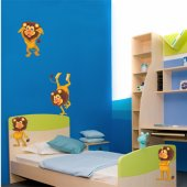 Kit Adesivo Murale bambini 4 leoni