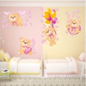 Kit Adesivo Murale bambini 4 orsetti e farfalle