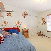 Kit Adesivo Murale bambini 5 scimmie
