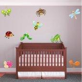 Kit Adesivo Murale bambini 9 insetti