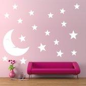 Kit Autocolante decorativo  19 luas estrelas