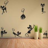 Kit Autocolante decorativo  9 gatos