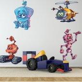 Kit Autocolante decorativo infantil 4 robôs