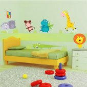 Kit Autocolante decorativo infantil 5 Animais