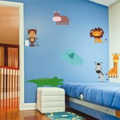 Kit Autocolante decorativo infantil 7 Animais