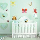 Kit Autocolante decorativo infantil 9 insetos