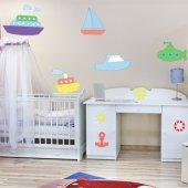 Kit Autocolante decorativo infantil barcos