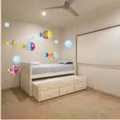Kit Autocolante decorativo infantil peixe com bolha