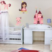 Kit Autocolante decorativo infantil princesa