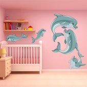 Autocollant  enfant kit stickers 5 dauphins