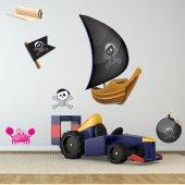 Autocollant Stickers enfant kit 6 accessoires pirates