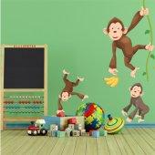 Autocollant Stickers enfant kit 3 singes
