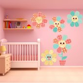 Kit Vinilo decorativo infantil 5 flores
