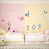 Kit Vinilo decorativo infantil flores aves