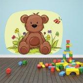 Naklejka ścienna Dla Dzieci - Niedźwiadek i Kwiatki