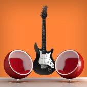 Naklejka ścienna - Gitara Black