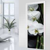 Naklejka na Drzwi - Biała Orchidea