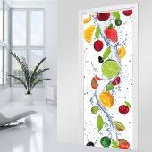 Naklejka na Drzwi - Wodospad owoców
