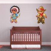 Sticker Pentru Copii Cowboy si Indian