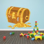 Sticker Pentru Copii Cufar si Piese de Aur
