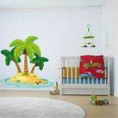 Autocollant Stickers enfant ilot palmier