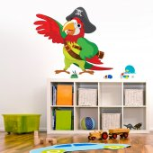 Autocollant Stickers enfant perroquet pirate