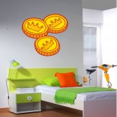 Vinilo infantil 3 monedas de oro