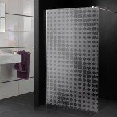 Adesivo sabbiato per box doccia quadrati design