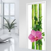 Naklejka na Drzwi - Bambus i Orchidea