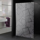 Stickers paroi de douche dépoli carrés design