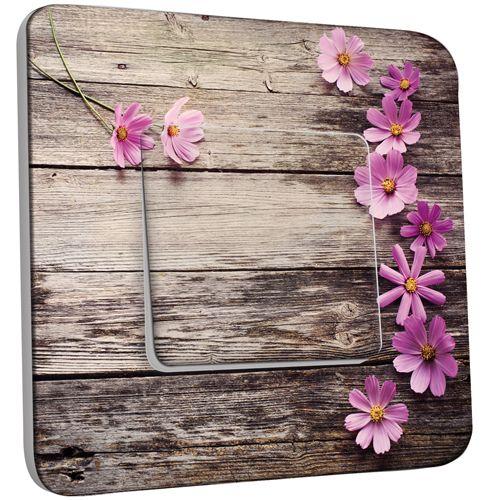 interrupteur d cor poussoir bois fleurs pas cher