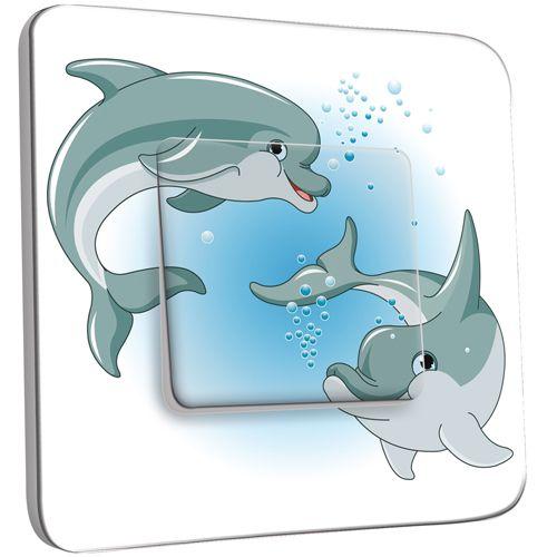 Interrupteur d cor poussoir dauphins enfant pas cher for Interrupteur decore
