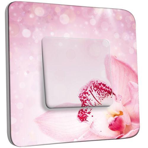 interrupteur d cor poussoir orchid e rose scintillante pas cher. Black Bedroom Furniture Sets. Home Design Ideas