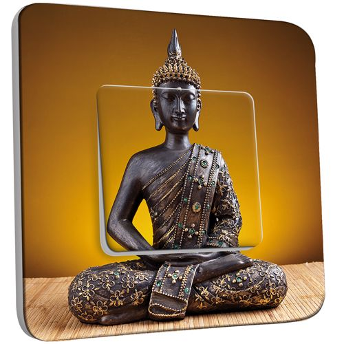 interrupteur d cor poussoir statue bouddha or pas cher. Black Bedroom Furniture Sets. Home Design Ideas
