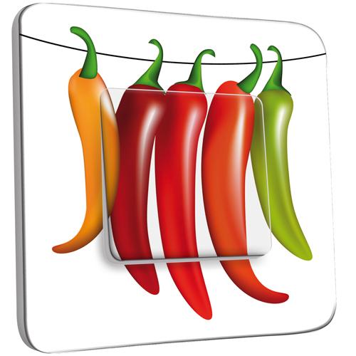 Interrupteur d cor simple va et vient cuisine piments - Stickers cuisine belgique ...