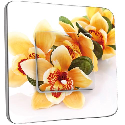 interrupteur d cor simple va et vient fleurs jaunes zoom pas cher. Black Bedroom Furniture Sets. Home Design Ideas